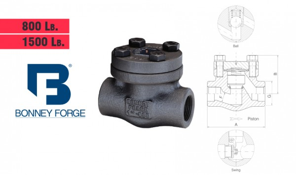 Bonney Forge Bolted Bonnet- 800 lb. & 1500 lb. Check Valves