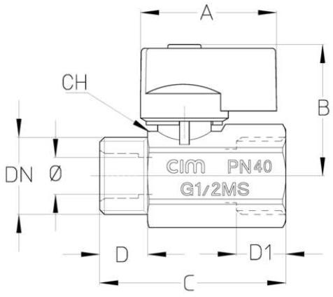Cim 012 Heavy Mini Ball Valve - Male-female With Flag Handle 3