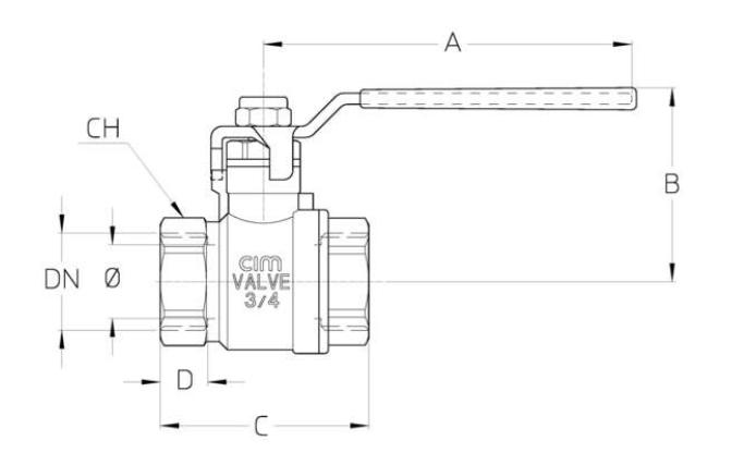 Cim 14M Full Bore Ball Valve - Types T14 - Steel Lever Handle -  diagram