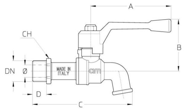 Cim 36 Ball Bib Cock - PN 16 - diagram