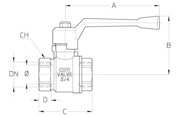 Full Bore Ball Valve - Types T14 - Aluminium Lever Handle - diagram