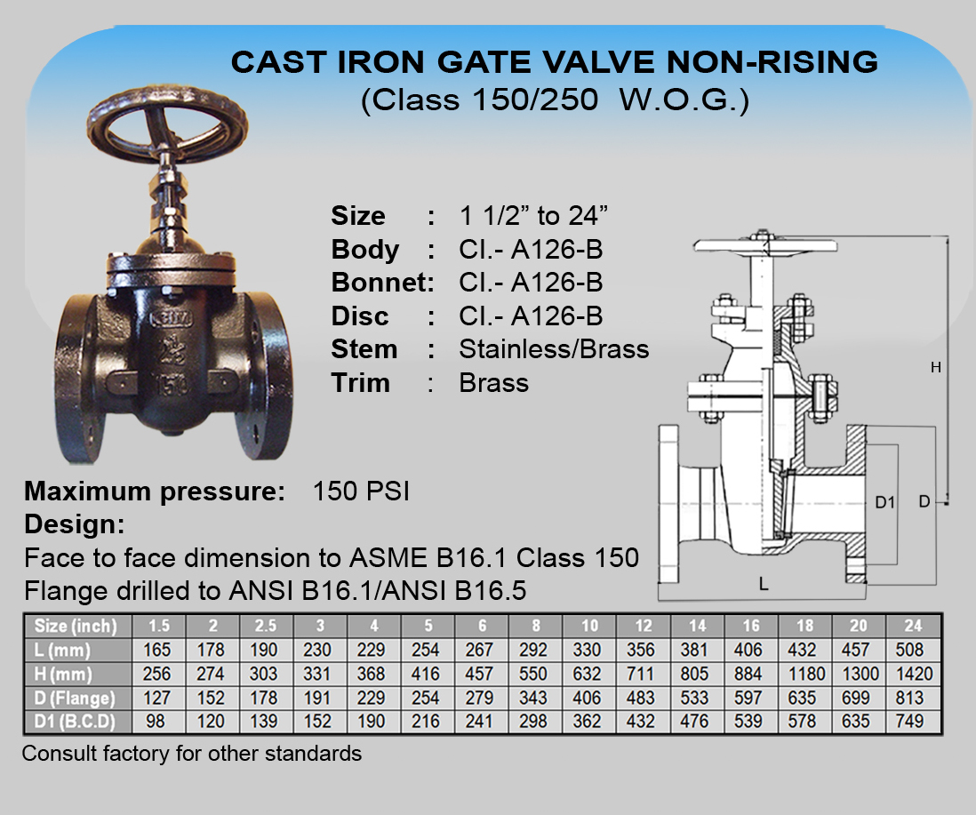 01 Cim Cast Iron Gate Valve Non-Rising