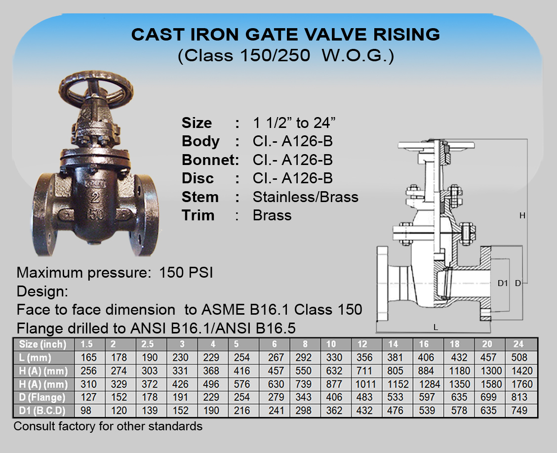 Cim Cast Iron Gate Valve Rising Tyval Industrial Supply