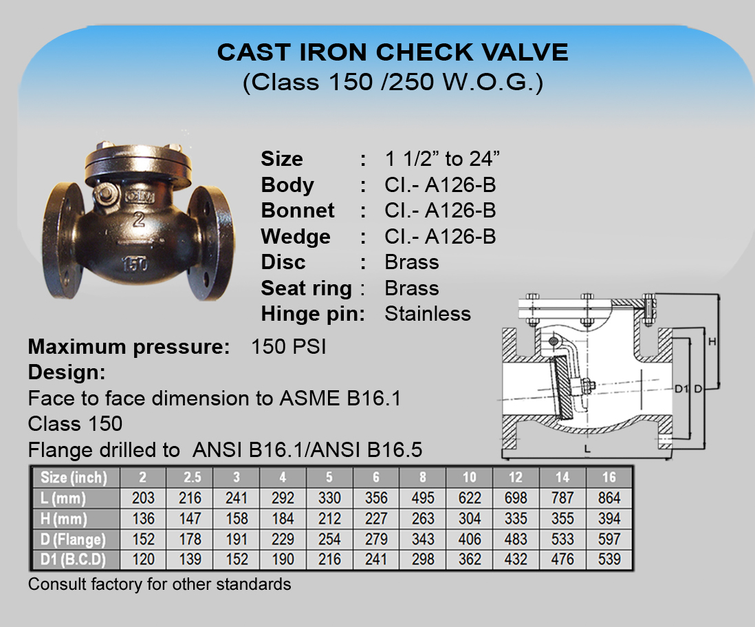 09 Cim Cast Iron Check Valve